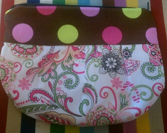 Pleated Clutch- polka dot/paisley