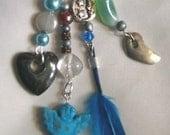 Handmade Bag Charm w/ Turquoise Angel, Sun, Moon,Hematite Heart  and other charms
