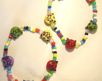 Handcrafted 2 Multicoloured CAT'S head beads, children's Bracelets
