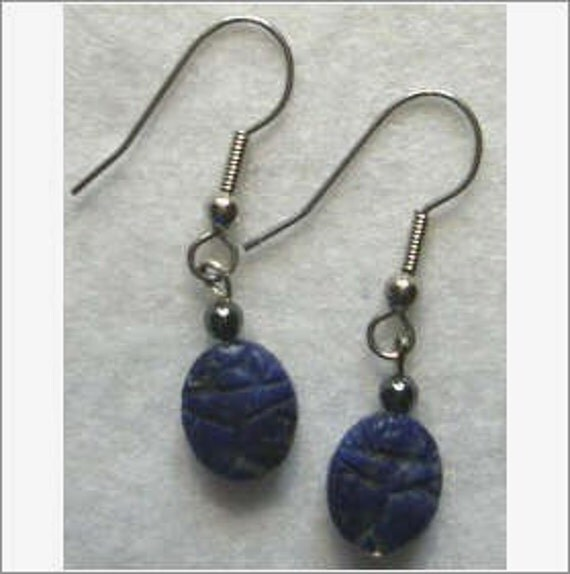 Handcrafted Lapis Scarab drop earrings with Surgical steel earhooks