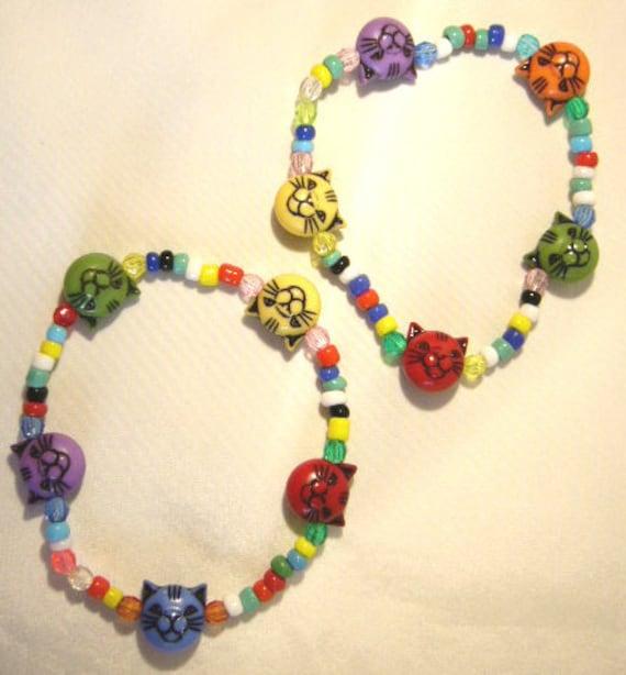 Handcrafted 2 Multicoloured CAT'S head beads, children's Bracelets