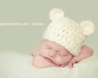 Snuggly Soft Cream Bear Beanie/Newborn-Toddler Size