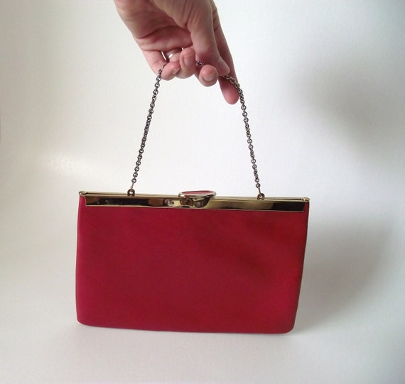 60s Red Gold Clutch  / 1960s Etra Purse /  Faux Leather Vintage Evening Bag