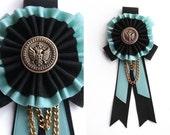 Black, aquamarine & gold chain - medal