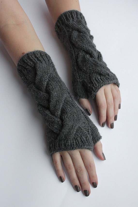"""SALE 25% off - Coupon code """"SALES"""" - Gray Cabled Fingerless Gloves / Arm Warmers / Mittens"""