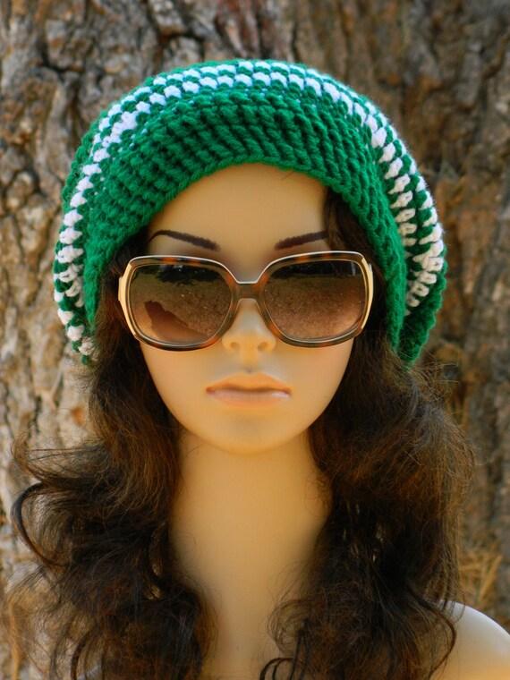 Slouchy Beanie Beret Tam Boho Urban Stylish Women Teens Men In Green And White
