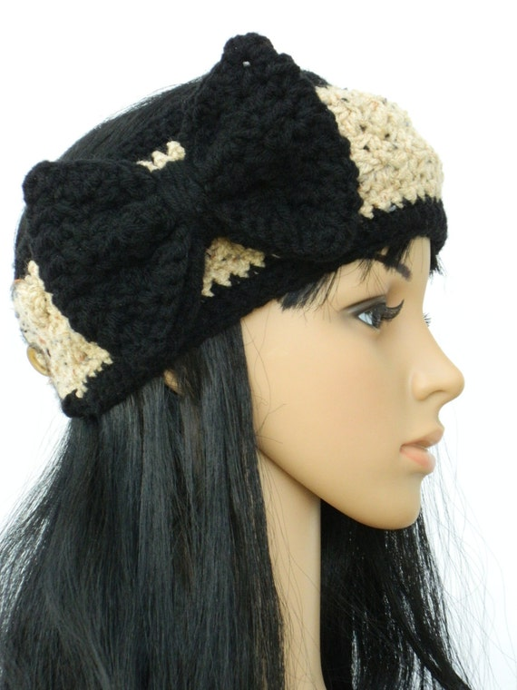 Oatmeal  Black  crochet Headband Earwarmer Headwrap Winter Headband With Oversize Bow