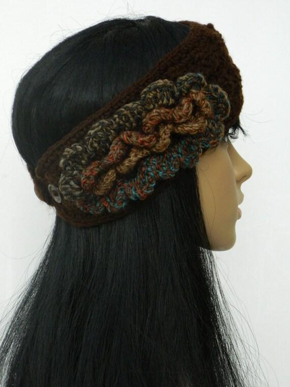 Crochet Headband Earwarmer Headwrap..For Women Teens In Brown And Multicolored