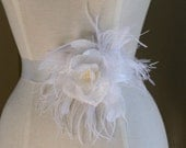 Bridal Sash-Elizabeth Romantic Flower & Feather in Ivory and Soft White