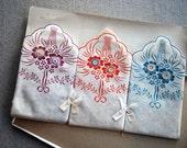 set of 3 delicate vintage floral hankies