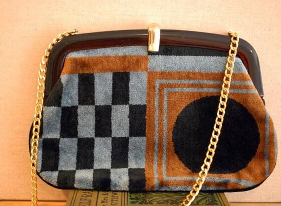 vintage 1970's  yves saint laurent chenille shoulder bag
