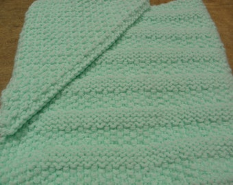 Baby Blanket with Hood - Hand Knit - Mint Green