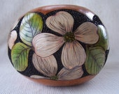 Wood burned dogwood flowers and leaves gourd bowl, carved background. 1548.