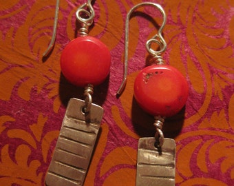 Earrings with red coral and silver dangle