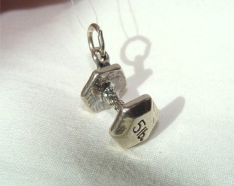 Weight Lifter or Dog Obedience DUMBELL Charm in STERLING Silver
