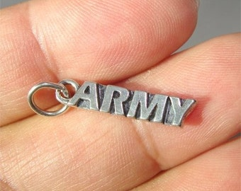 ARMY Word Charm For the Soldier in Sterling Silver