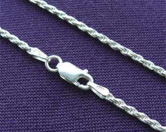 """24"""" Sterling SILVER 040 ROPE Chain Made in ITALY"""