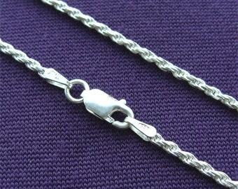 """30"""" STERLING Silver 040 ROPE Chain Made in ITALY"""
