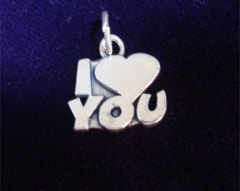 Valentine I Heart LOVE You Charm in STERLING Silver