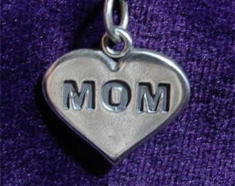 Mother's day MOM on a Heart CHARM in Sterling Silver