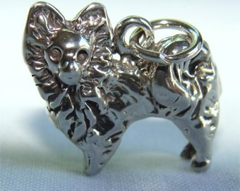 Sterling PAPILLON Butterfly Dog Charm