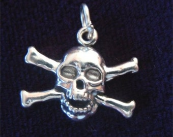 Cross BONES with Skull in STERLING Silver
