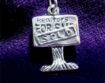 Realtor or Real Estate SIGN Charm in STERLING Silver