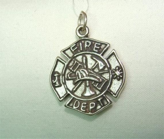 Fire Department Maltese Cross Necklace: Sterling Fire Department MALTESE CROSS Emblem Pendant From