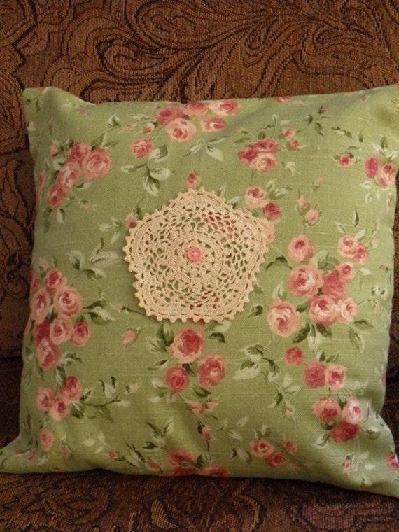 Handmade Shabby Chic Pillows : Pillow-Shabby Chic Handmade pillow with green by PillowtasticPlus