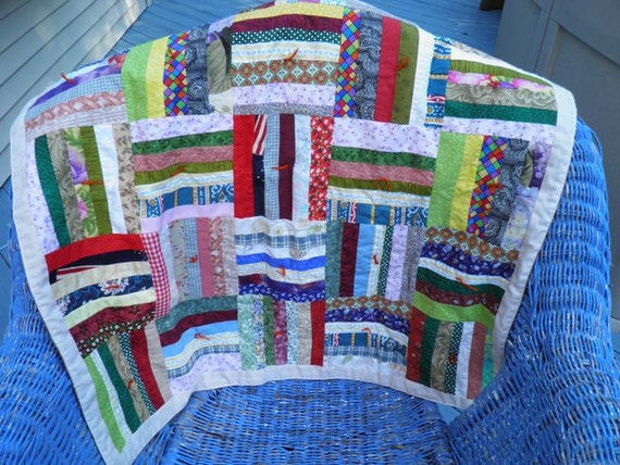 Quilt- hand made OOAK w fabric scraps- rainbow of colors