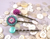 Bobby Pin Set in Turquoise and Lilac Cute as a Button