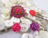 Bobby Pin Set in Magenta and Lilac Cute as a Button