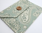 Kindle Case Fabric Clutch in Teal Paisleys