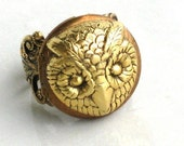 Steampunk - OWL LOCKET RING - Antique Gold - Neo Victorian - By GlazedBlackCherry