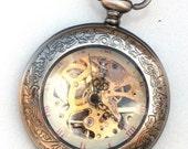 Steampunk - SHERLOCK HOLMES -  Pocket Watch - Mechanical - Large - Skeleton Style - Necklace - Gray Silver - GlazedBlackCherry