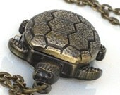 Steampunk - SNAPPING TURTLE Pocket WATCH - Necklace - Antique Brass - Neo Victorian - By GlazedBlackCherry --Pre Sale--