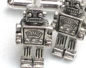 Steampunk - MR ROBOT - Men's Cufflinks - Antique Silver - Retro Geekery - By GlazedBlackCherry