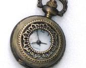 Steampunk - LACE FLOWER - Pocket Watch - Necklace - Antique Brass - Neo Victorian - By GlazedBlackCherry