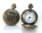 Steampunk - OWL POCKET WATCH Cufflinks - Functions Pieces - Antique Brass- Neo Victorian - GlazedBlackCherry