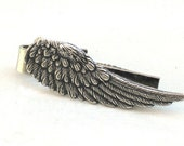 Steampunk ANGEL FEATHER - Men's Tie Bar Clip - Antique Silver - By GlazedBlackCherry