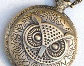 Steampunk - OWL POCKET WATCH - Large - Necklace - Antique Brass - Neo Victorian - By GlazedBlackCherry