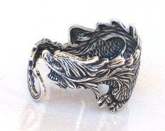 Steampunk - DRAGON RING - Antique Silver - Sea Dragon - Wraps Around Your Finger - Neo Victorian - By GlazedBlackCherry