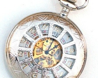 Steampunk - WINDOWS IN TIME Silver Pocket Watch - Mechanical - Large - Necklace - Silver - Neo Victorian - By GlazedBlackCherry