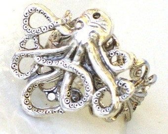 Steampunk - OCTOPUS RING - Antique Silver - Neo Victorian - By GlazedBlackCherry