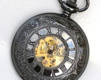 Steampunk - ROMAN NUMERALS Mechanical Pocket Watch - Necklace -  Jet Black - Glow In Dark Face - Neo Victorian - GlazedBlackCherry