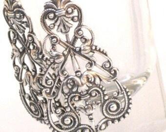 Steampunk - VICTORIAN FILIGREE Dangle Earrings - Antique Silver - By GlazedBlackCherry