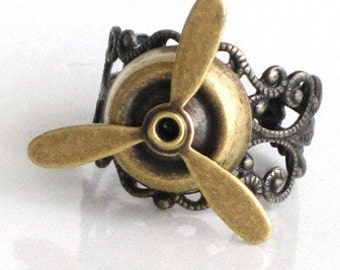 Steampunk - Airplane PROPELLER RING- Rotat ing Blades - Aviator - Antique Brass - Steampunk - Geekery - By GlazedBlackCherry