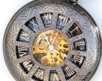 Groomsman Gift - Pocket Watch - Mechanical - Steampunk - DARK WINDOWS in TIME  - Necklace - Gun Metal - Steam Punk - GlazedBlackCherry