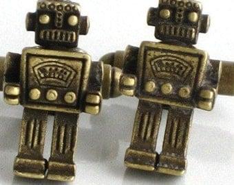 MR ROBOT - Men's Cufflinks - Antique Brass Bronze- Steampunk - Retro Geekery - By GlazedBlackCherry