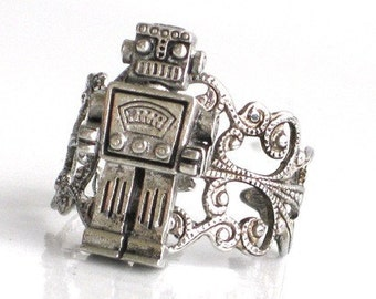 MR ROBOT Ring - Antique Silver - Filigree Setting - Miniture Toy Robot - Steampunk - Retro - Geekery - By GlazedBlackCherry